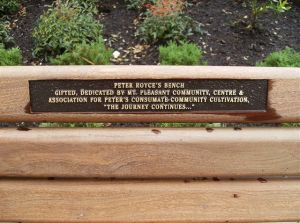 Inscription on Peter's bench